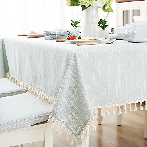 100 x 140 cm Tissu de coton Housse de table à rayures Vert Tassel Nappe Rectangulaire, Tissu, Green, 140*200CM