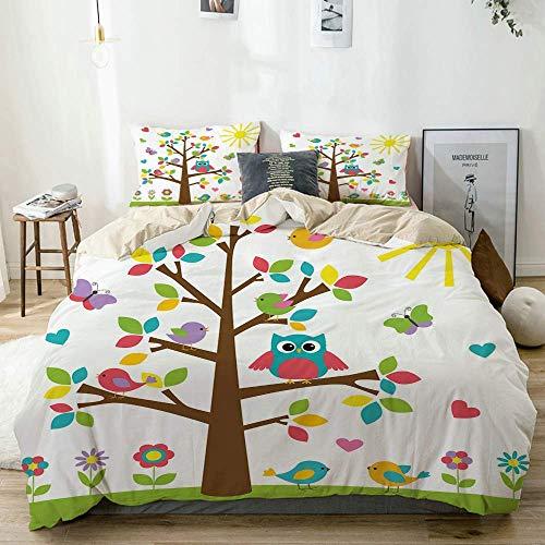 Duvet Cover Set Beige,Nursery Colorful Tree Cute Owl Print, Decorative 3 Piece Bedding Set with 2 Pillow Shams