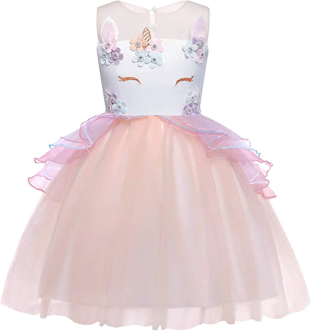 WonderBabe Unicorn Princess Costume for Girls Dresses Fancy Flower Pageant Birthday Party Dress Up Evening Gowns Festival Outfit