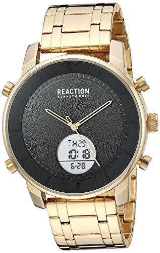 Kenneth Cole REACTION Men's ANA-Digit Analog-Quartz Watch with Stainless-Steel Strap, Gold, 22 (Model: RK50083010)