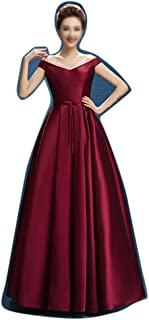 ZYDP Women's One-Shoulder Long Dress Ruffles Evening Prom Dress (Color : Wine Red, Size : US20)
