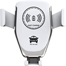 Nice Fast Wireless Car Charger 10W Car Mount Kit Adjustable Gravity Air Vent Mobile Phone Holder Compatible with iPhone Samsung Nexus Moto OnePlus HTC Sony Nokia & Android Smartphone (White)