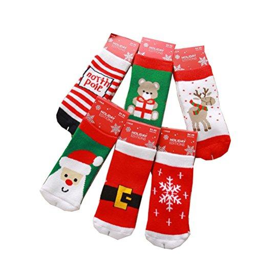 Butterme 6 paia colori della miscela unisex delle ragazze dei neonati di Natale Festive Fun novità Cotton Socks vacanze fumetto dei calzini di Natale calze di Natale