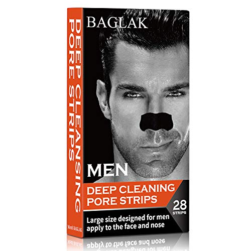 BAGLAK MENS Blackhead Deep Cleansing Pore Strips, (28 Strips), Larger For Nose+Face, Oily Skin