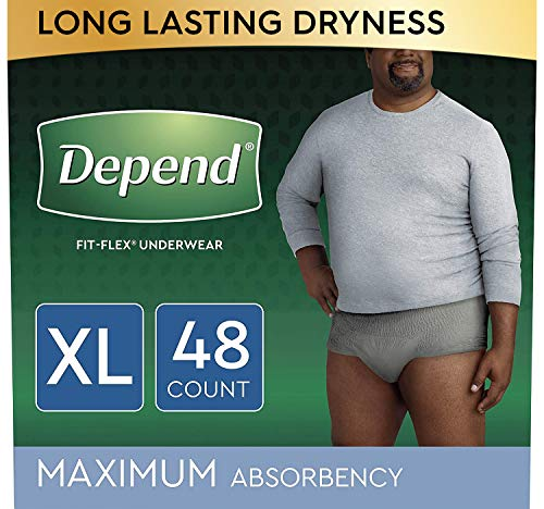 Depend FIT-FLEX Incontinence Underwear for Men, Maximum Absorbency, Disposable, XL, Grey, 48 Count (2 Packs of 24) (Packaging May Vary)