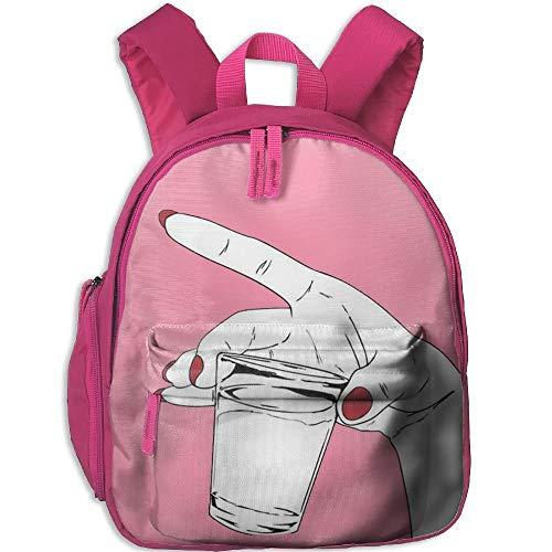 AOOEDM mit einem roten Nagellack Hand mit Einer Tasse Kind und Kleinkind Student Rucksack Schultasche Super Bookbag
