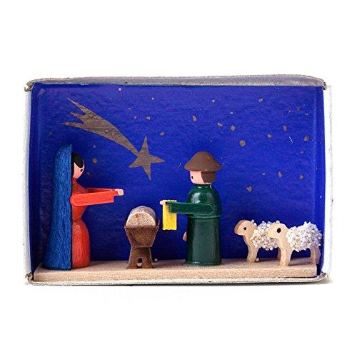 Miniatur-Zündholzschachtel Krippe - Dregeno Erzgebirgische Holzkunst - Artikel 028/007