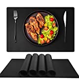 GOYSLER Silicone Placemats, Heat Resistant Table Mats,Waterproof Table Cover Protector,Non-Slip Table Pad, Easy Clean Kitchen Mat for Dining Room,Eco-Friendly Place Mats for Kids,Set of 4 (Black)