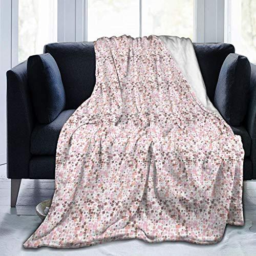 ELIENONO Soft Fleece Überwurfdecke,Quadratische Formen mit abgerundeten Kanten in Pastellrosa Shades Mosaik Pixel Fliesen Zusammensetzung,Home Hotel Bed Couch Sofa Überwurfdecken für Paare Kinder