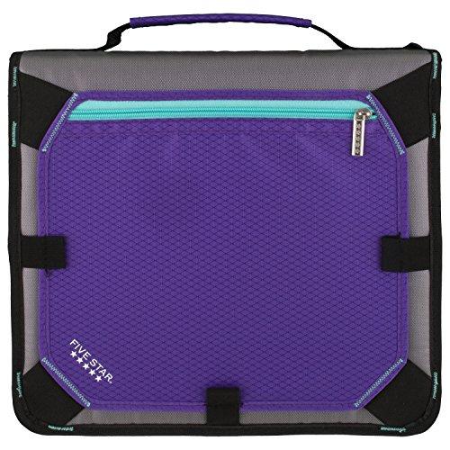 Five Star Zipper Binder, 2 Inch 3 Ring Binder, Expansion Panel, Durable, Purple/Black/Aqua/Gray (29052BD7) Photo #4