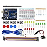 Raybre Art Electronics Starter Kit with 400 tie-points Breadboard Dupont Cable,Jumper Wires,Resistors,LED for Arduino R3,Mega2560,Nano