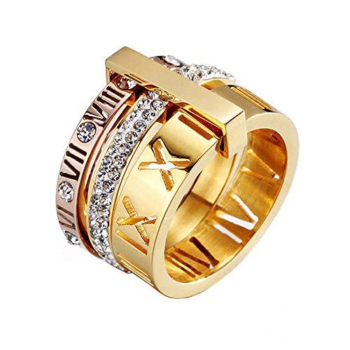 UNAPHYO Anillo de acero inoxidable para mujer, con números romanos y circonitas, oro rosa, plata