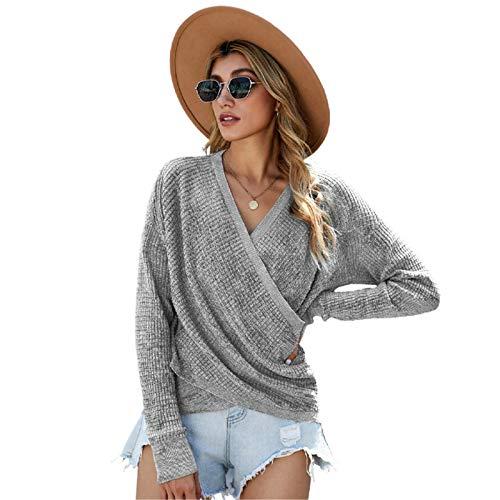 HDZW Suéter de punto con cuello en V, color puro, manga larga, para mujer, de punto, holgado, sexy, holgado, tallas grandes, para otoño e invierno, cálido, gris, S