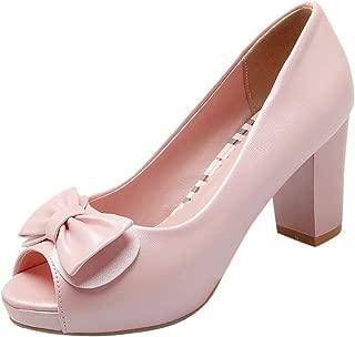 Women's Peep Toe Chunky Heel Pumps Shoes