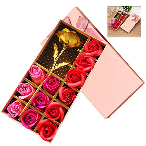 iPobie Regalos románticos 12 Piezas Jabón Rosa y Hoja de Oro de 24 k Flores Regalo para Fiestas Boda San Valentín Aniversario Cumpleaños