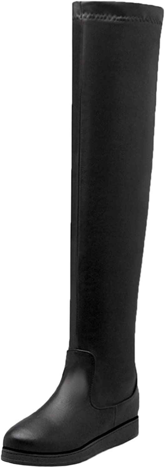 BIGTREE Over The Knee Boots Women Fall Winter Elastic Black Flat Warm Casual Long Boots