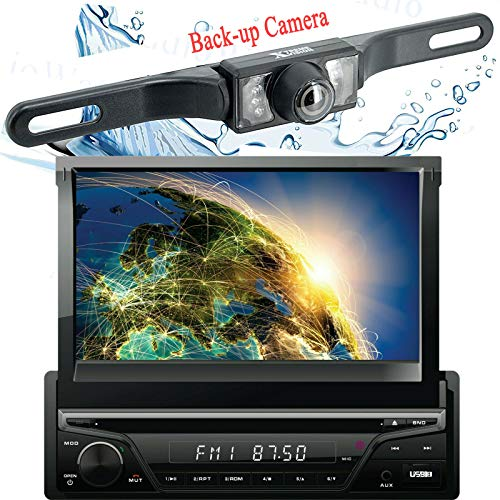 Gravity Single DIN Touch Screen Multimedia Entertainment Bluetooth/CD Player AM-FM Radio Tuner/DVD Stereo Car Audio Receiver + Xtreme Vision Backup Camera