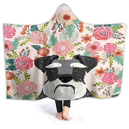 XCNGG Manta con Capucha Dog Floral Pattern Hooded Blanket Windproof Cozy Hooded Throw Wrap Thermal Hoodie Wearable Blanket Durable Reversible Hooded Sherpa Blanket for Men Women
