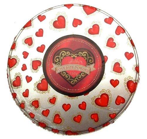 FOAM Bath Powder Heart Design Tin 150 g fizzing Powder with Lily Fragrance by Bath Oils and Gels