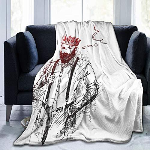 Manta mullida, fresca y hipster King personaje con corona y burbujas pensantes, ultra suave, manta de bebé, manta para dormitorio, cama, TV, manta de cama de 50 x 40 pulgadas