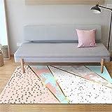 PANGLDT Wohnzimmer Home Teppich -Mode nordischen geometrischen Pulver Marmor Teppich- Teppich weich fürs Küchenmatten Schlafzimmer Anti-Müdigkeit Fußmatten-120X170cm