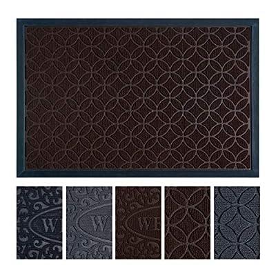"""Outdoor Entrance Door Mats for Front and Back Door, Non-Slip Welcome Doormat for Indoor Outdoor, Waterproof, Easy Clean, Low-Profile Mats for Entry, Garage, Patio (17""""x 29"""", Black Welcome)"""