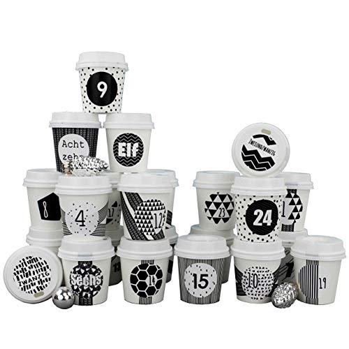 Papierdrachen DIY Adventskalender Espresso-Becher - zum selber Basteln und Befüllen - mit schwarzem Washi Tape - 24 Coffee to Go Cups - Design Set 4