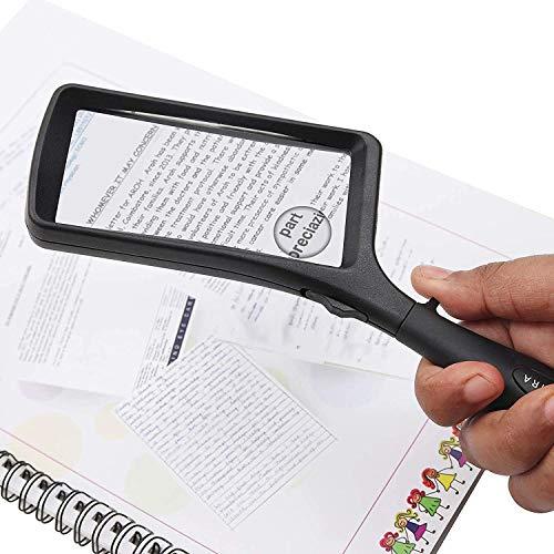 Leselupe 2X 6X Lupe mit LED Licht, Handlupe Vergrößrungglas für Senioren, Schmuck Lupe zum Lesen von Kleingedrucktem, Karten, Münzen, Briefmarken & Schmuck - 3