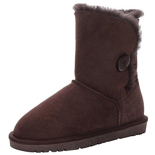 Jamron Damen Nobel Schafspelz Mid-Kalb Schneestiefel Warm Shearling Wolle Gefüttert Winter Stiefel Mit Taste Kaffee SN021013 EU41.5