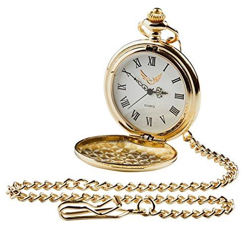 Donkere kant van de maan Roze Floyd Gold Pocket Horloge 24 Karaat Goud Gecoat Full Hunter met Ketting Luxe Gift Case