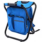 Fishing Backpack Chair, Portable Camping Stool, Foldable Solid Construction Backpack Stool with Double Layer Oxford Fabric Cooler Bag for Fishing, Beach, Camping, House and Outing (Blue)