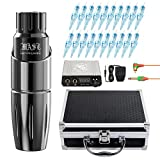 Dragonhawk Mast Tour Tattoo Pen Machine Kit with Case Permanent Makeup Gun, 20Pcs Cartridges Needles Power Supply Custom Mast Coreless Motor Rca Cord