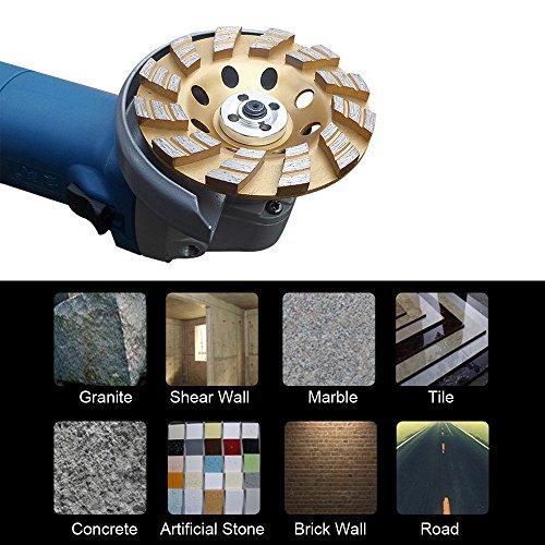 KKmoon 100mm x 22mm Diamant Schleiftopf Verdickte Schleifteller Topfscheibe Schleifscheibe f¨¹r Beton Mauerwerk Stein Bauindustrie, Universal Diamond Segment Grinding Wheel Golden¡