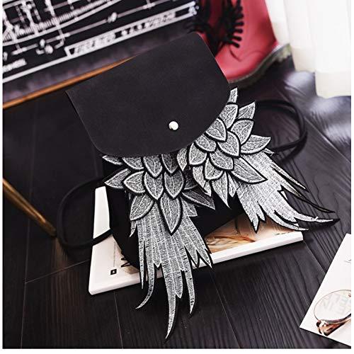 DFHJKY Mochila Mochila de Mujer de Moda Samll con diseño único de ala Bolso de señora de Cuero de PU Angel Wings Mochila con cordón Hombro Femenino