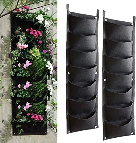 Hanging Planter Bags, Scoolr 2pcs 7 Pocket Hanging Vertical Wall Planter Planting Grow Bags for Yards, Apartments, Balconies, Patios, Schoolyards and Gardens, Planting Bags Storage Bags
