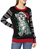 Ugly Christmas Sweater Company Women's Assorted Pullover Xmas Sweaters with Multi-Colored LED Flashing, Black Light-Up Cat Wrapped Up in Lights, L
