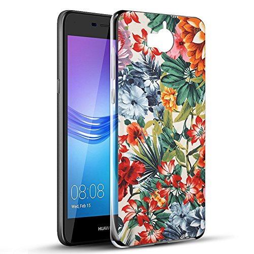 Eouine Cover Huawei Nova Young, Cover Trasparente con Disegni, Morbido Antiurto Gel Bumper Case Custodia in TPU Silicone per Huawei Nova Young / Y5 2017 / Y6 2017 (Fiore colorato)