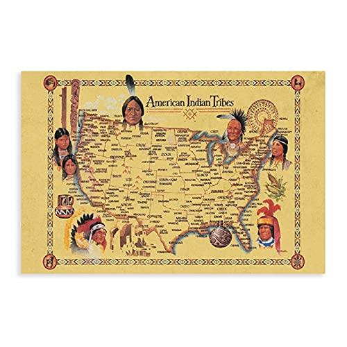 Art American Indian Tribes At Time of Columbus Llegada Mapa Lienzo Poster Decoración Dormitorio Deportes Paisaje Oficina Decoración Regalo Unframe-style30×45cm