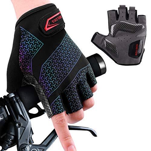 boildeg Guantes de Ciclismo de Bicicleta Guantes de Bicicleta de Carretera de Medio-Dedo para Hombres Mujeres Acolchado Antideslizante Transpirable (Black, M)