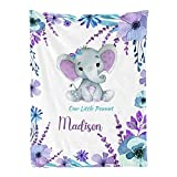 Personalized Baby Blanket Purple Teal Elephant Custom Nursery Swaddling Blankets 30x40 Inches for Baby Boy Girl with Name for Baby Shower Birthday