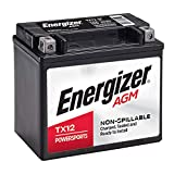Energizer - ETX12 TX12 AGM Motorcycle and ATV 12V Battery, 180 Cold Cranking Amps and 10 Ahr. Replaces: YTX12-BS and others , Black