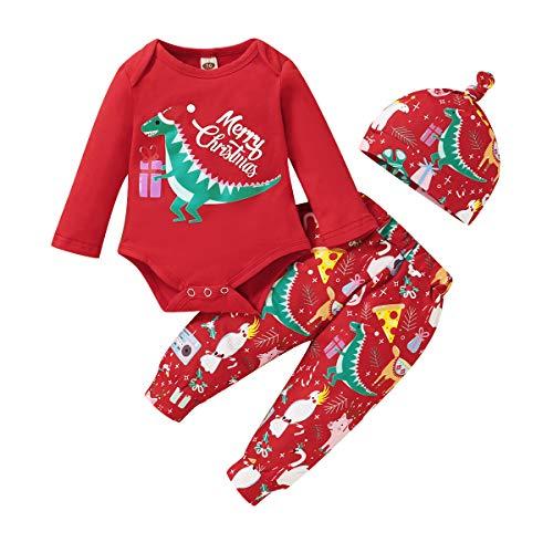 Hinzonek Infant Frohe Weihnachten Outfits Baby Boy Mädchen Dinosaurier Strampler + Hosen + Hut Kleidung Set