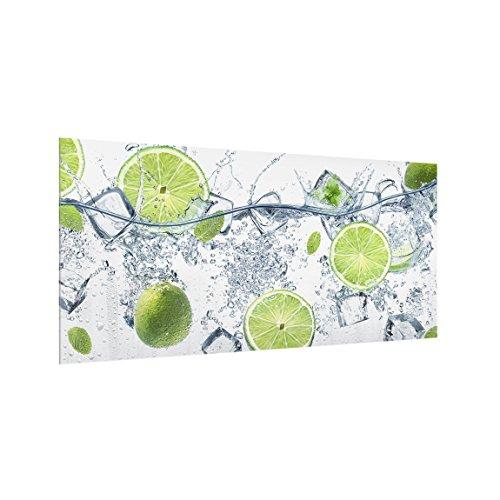 Bilderwelten Panel antisalpicaduras de Cristal - Refreshing Lime - Horizontal 1:2, Panel antisalpicaduras Panel de Vidrio para Cocina Panel Protector contra Salpicaduras, Tamaño: 40cm x 80cm