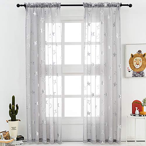 Sheer Star Curtains for Kids Room - Metallic Silver Moon Stars Pattern Printed Grey Sheer Curtains 84 Inch Length Rod Pocket Light Filter Kids Sheer Curtains, 52 x 84 Inch, 2 Panels, Gray, by FINECITY