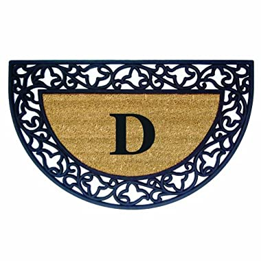 Nedia Home Acanthus Border with Half Round Rubber/Coir Doormat, 22 by 36-Inch, Monogrammed D