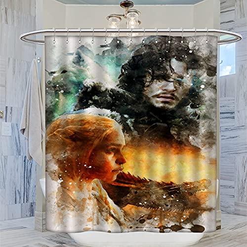 ERGF Juego de Tronos Cortina de ducha personalizada para adolescentes, decoración de baño, cortinas largas de 183 x 183 cm