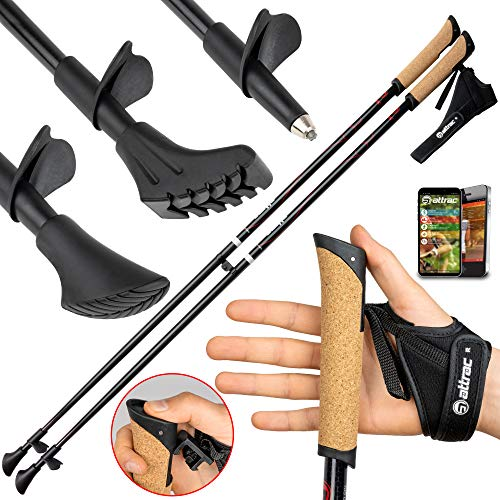 Carbon Ultra Light Walking Stock mit Handgelenkschlaufe Verschiedene Längen Superleicht Premium GRATIS - Nordic Walking/Fitness App (105 cm)