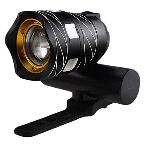 Gesh Luz frontal de bicicleta recargable USB T6 LED impermeable para bicicleta, color negro