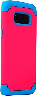Compatible with Galaxy S8 Plus (2017) Cell Phone Heavy Duty Slim Shockproof Drop Protection 2 in 1 [Dual Layer] Hybrid Protective Hard PC Covers Soft Rubber Bumper Protective Case Cute Red