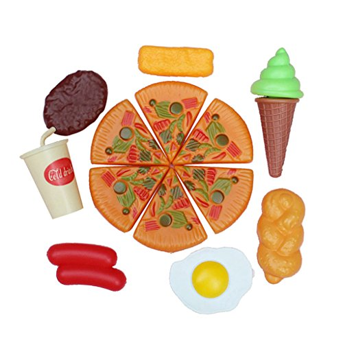MagiDeal 8pcs Juguete de Cocina Alimentos Pizza Bebida Huevo Helado Filete Pan Poll Jamón de Plástico Regalo para Niños
